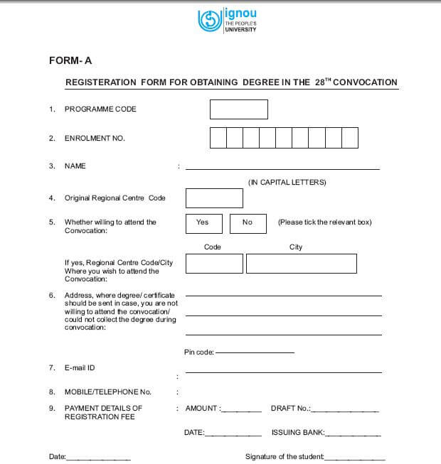 IGNOU 31st Convocation Form Download