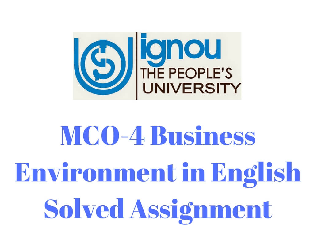 MCO-4 Business Environment in English Solved Assignment