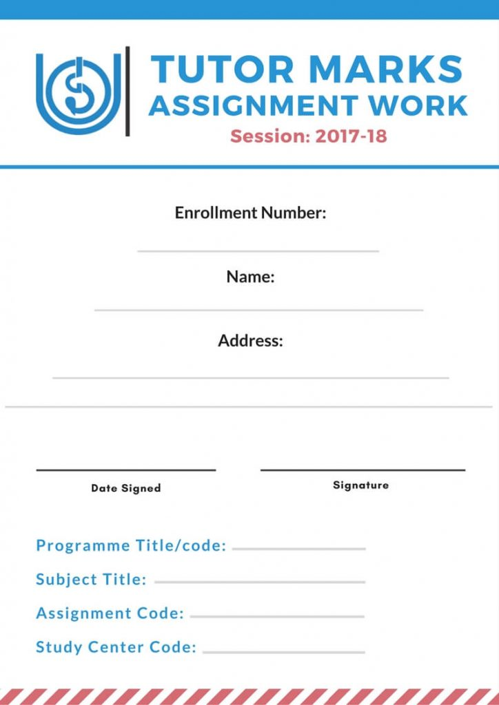 ignou assignment front page format