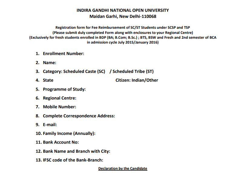 IGNOU Scholarship Form for SC, ST, and OBC