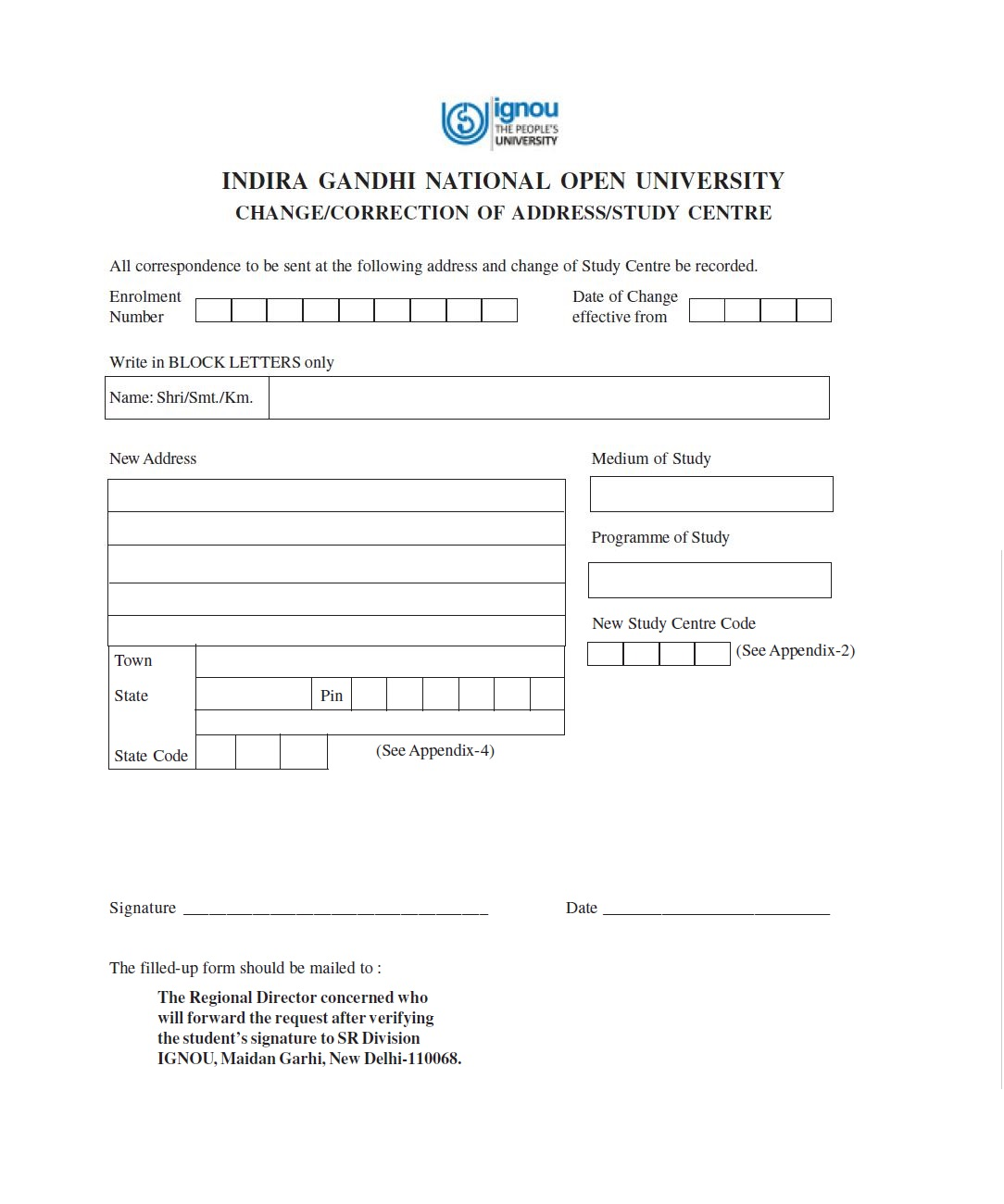 IGNOU-Change-of-study-center-form