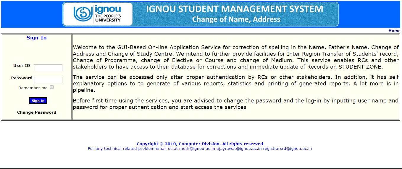 Ignou-study-center-change-online