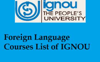 Foreign Language Courses List of IGNOU