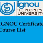 IGNOU Certificate Course List
