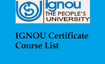 IGNOU Certificate Course List