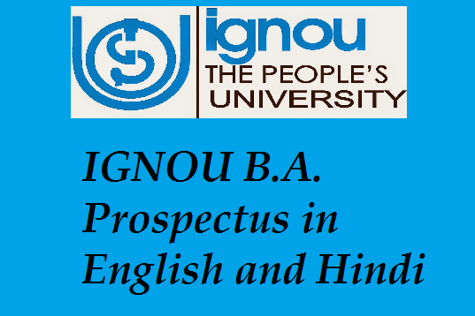 IGNOU B.A. Prospectus in English and Hindi