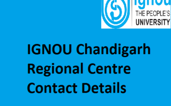 IGNOU Chandigarh Regional Centre Contact Details