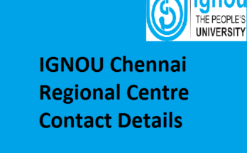 IGNOU Chennai Regional Centre Contact Details