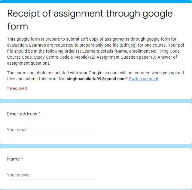 Ignou-rc-varanasi-online-assignment-submit-by-google-forms